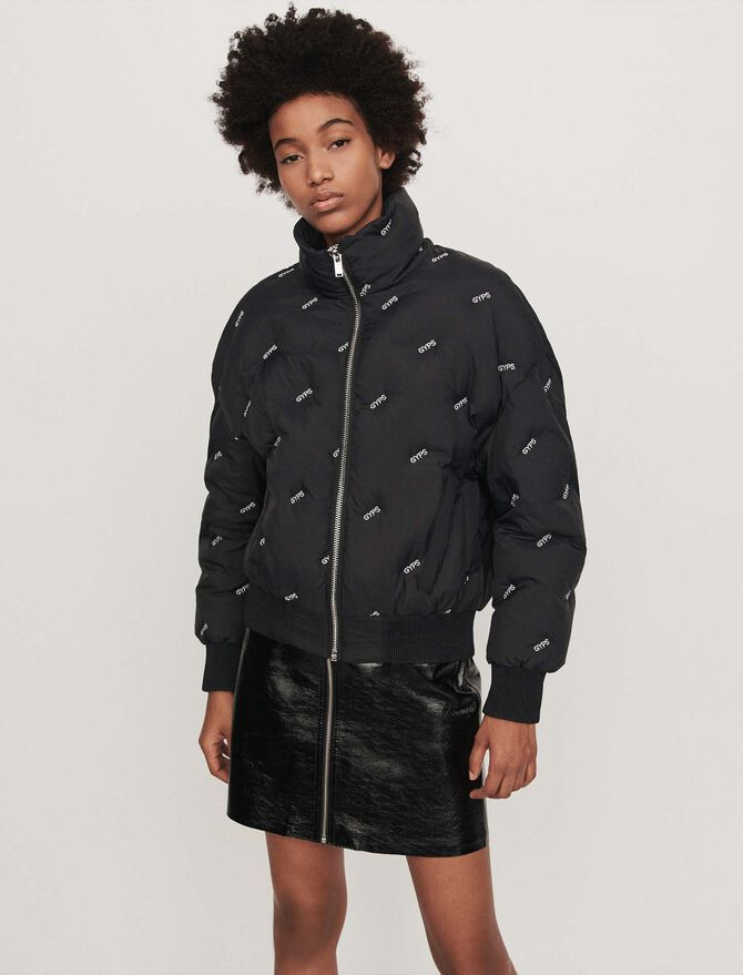 Embroidered cropped puffer - Coats & Jackets - MAJE