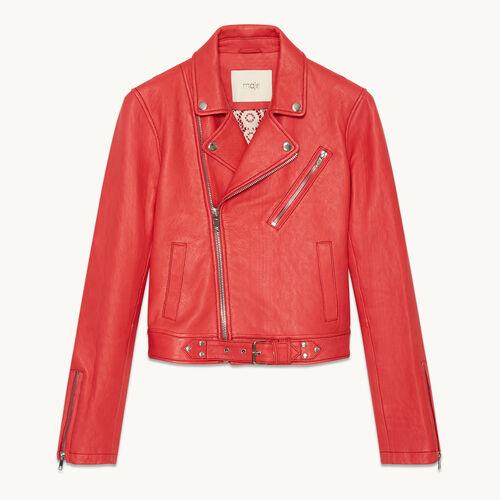 Biker-style leather jacket - null - MAJE