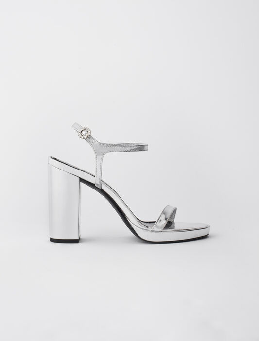 High-heeled sandals in metallic leather : All Shoes color Silver