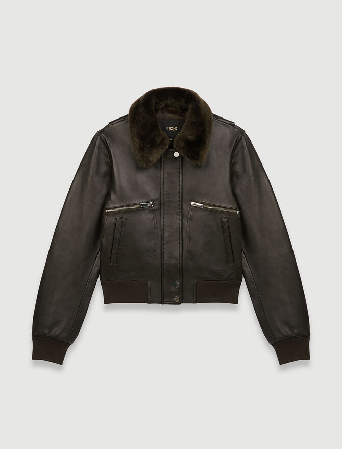 Leather jacket with faux fur collar - Coats & Jackets - MAJE