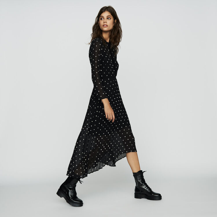 Pleated embroidered dress : Ready to wear color BLACK