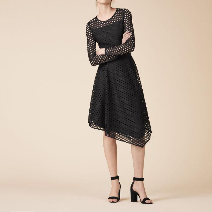 Long asymmetrical lace dress -  - MAJE