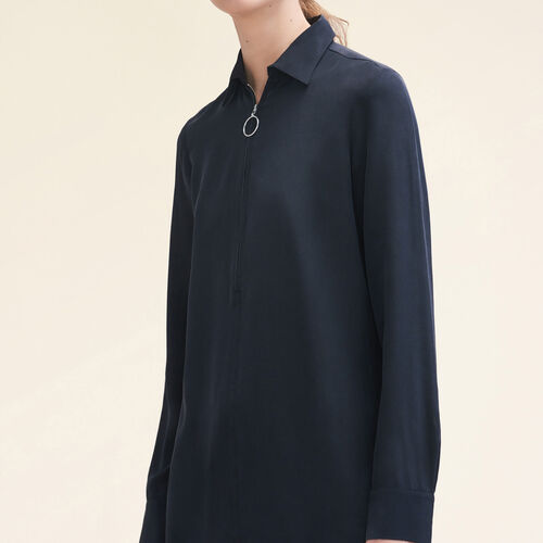 Silk shirt with zip : Tops color Black 210