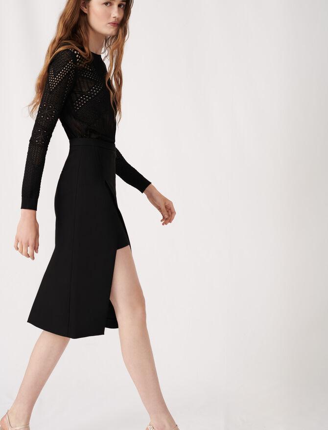 Calf-length split pencil skirt - Eco-friendly - MAJE