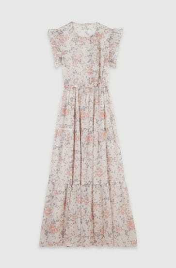Long floral-print ruffled dress