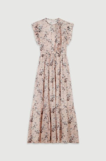 Long printed-cotton voile dress
