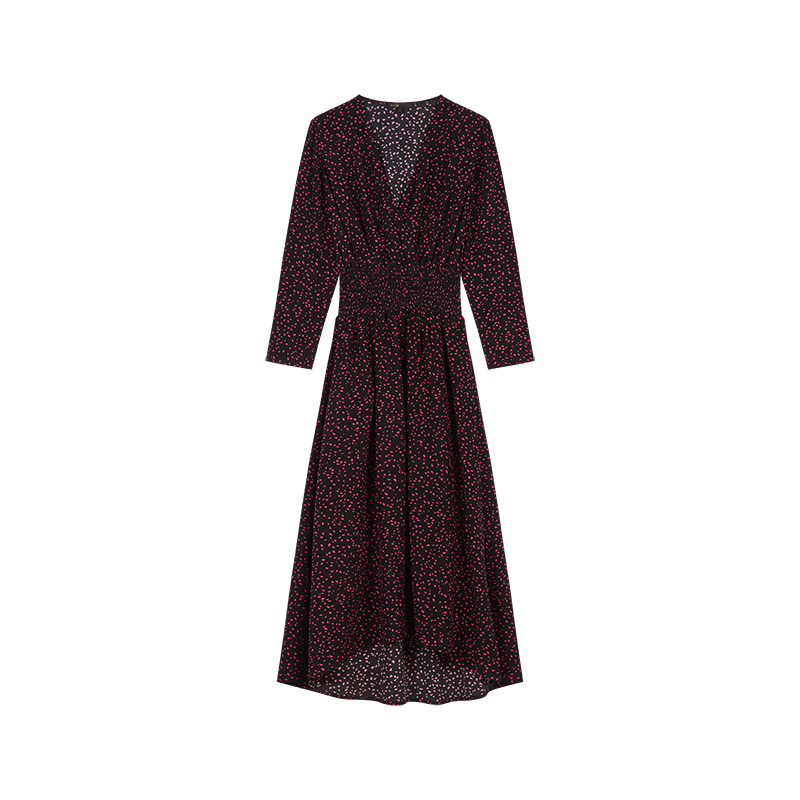 Printed-crepe smock dress - Dresses - MAJE