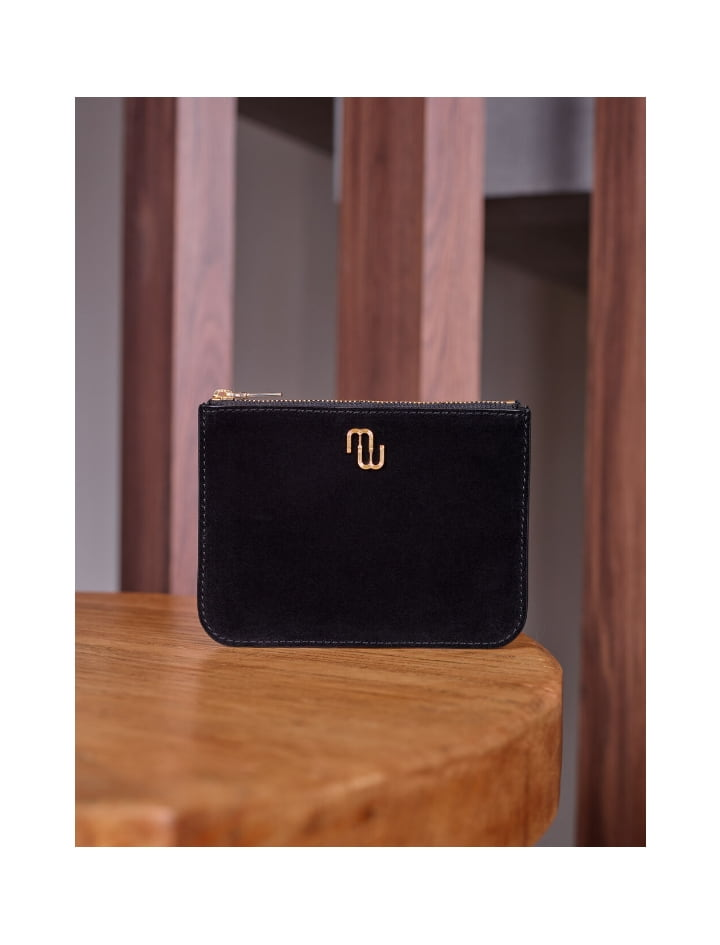Zip-up rectangular suede clutch - Bags and small leather goods - MAJE