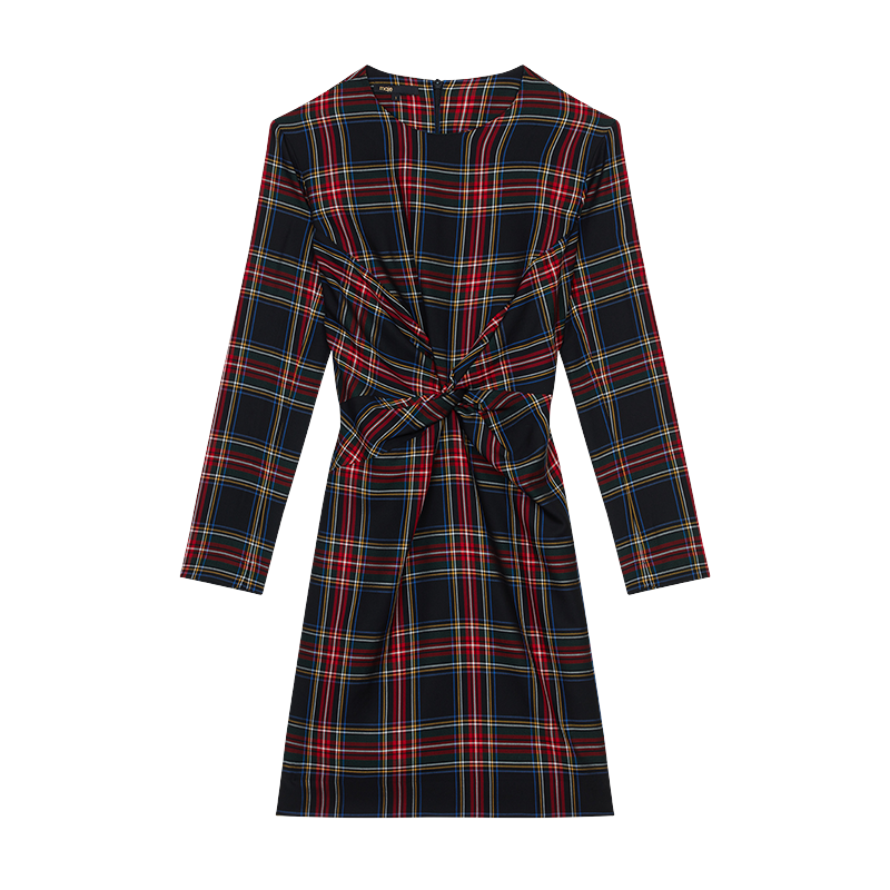 Draped plaid dress - Tartan - MAJE