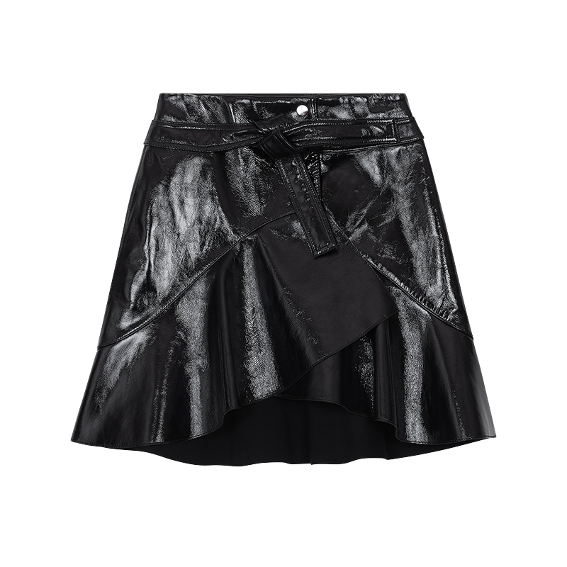 Asymmetric skirt in patent leather - Skirts & Shorts - MAJE