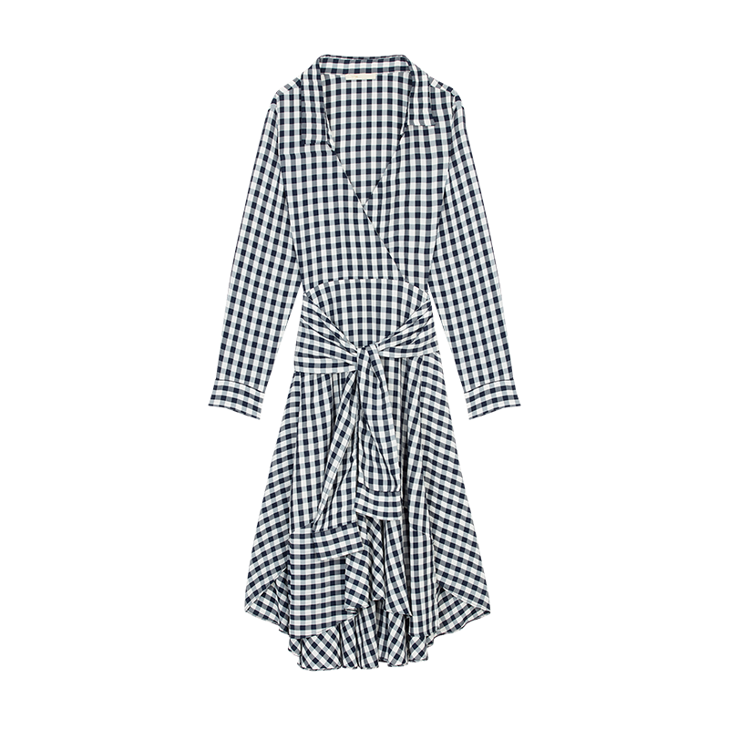 Midi shirt dress in vichy print - Dresses - MAJE