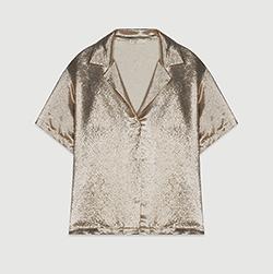 Pajama-style silk blend shirt